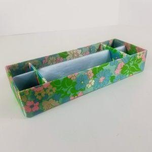 Mod Floral Satin Drawer Organizer Vintage Lingerie